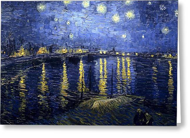Greeting Card featuring the painting Starry Night Over The Rhone by Vincent Van Gogh