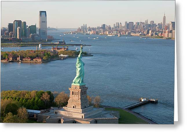 Statue Of Liberty, New York, Usa Greeting Card by Peter Adams