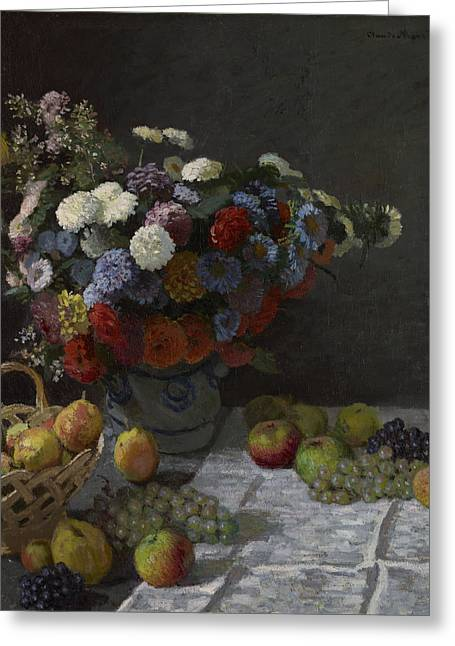 Still Life With Flowers And Fruit Greeting Card