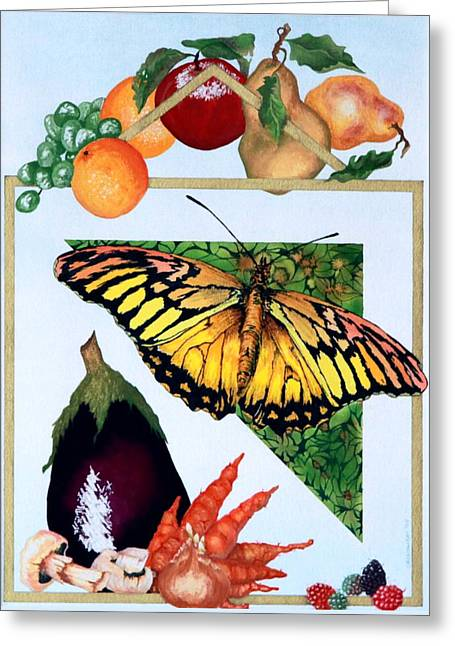 Greeting Card featuring the painting Still Life With Moth #1 by Thomas Gronowski