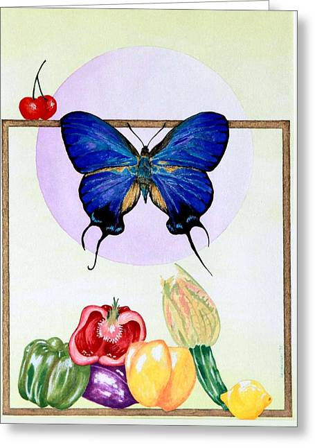Still Life With Moth #2 Greeting Card by Thomas Gronowski