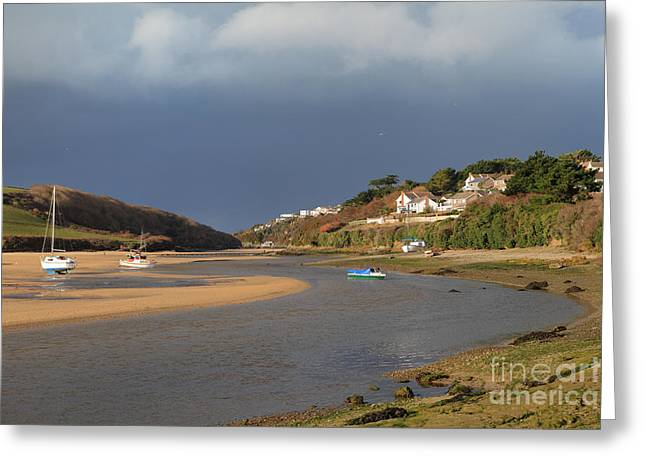 Greeting Card featuring the photograph Storm Approaches The Gannel Estuary Newquay Cornwall by Nicholas Burningham