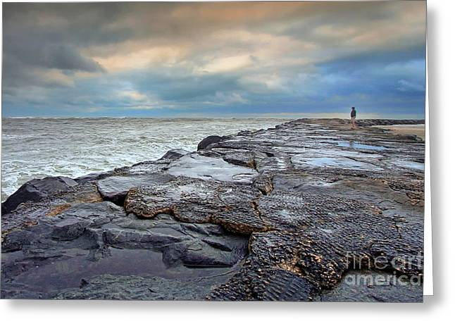 Storm Blowing Out Greeting Card by Geoff Crego