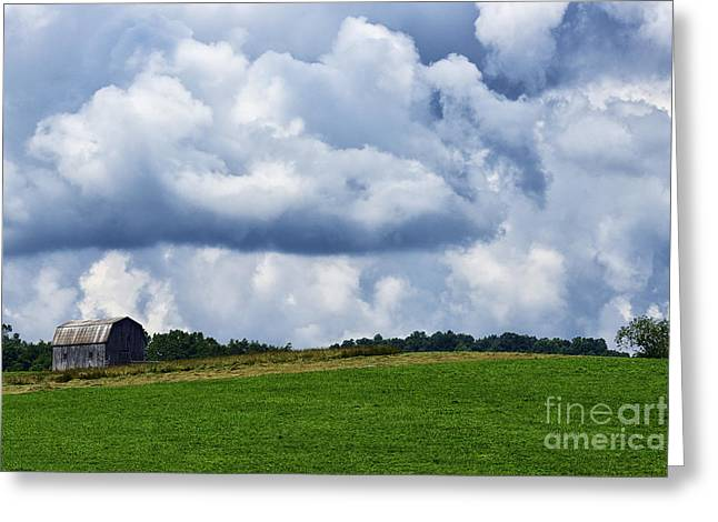 Stormy Sky And Barn Greeting Card by Thomas R Fletcher