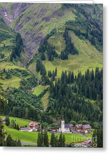 Stormy Mountain Village Of Schrocken - Austrian Alps Greeting Card by Gary Whitton