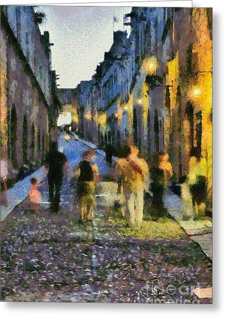 Street Of Knights Greeting Card by George Atsametakis