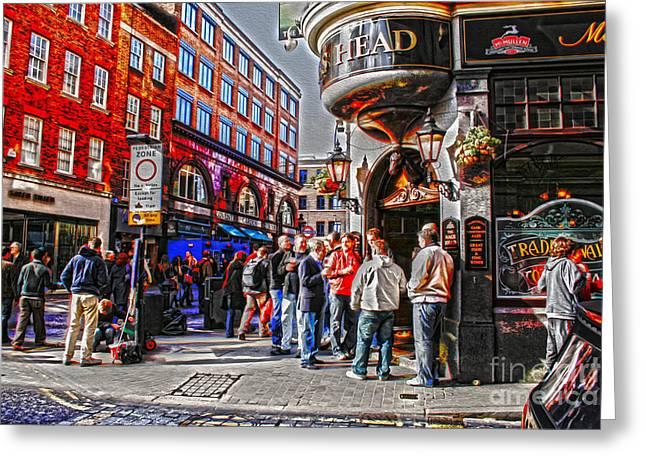 Streetlife In London Greeting Card by Patricia Hofmeester