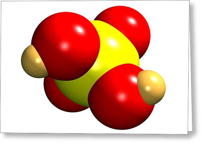 Sulphuric Acid Molecule Greeting Card by Dr. Mark J. Winter