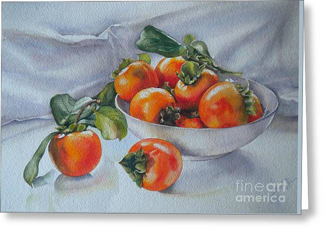 Summer Harvest  1 Persimmon Diospyros Greeting Card by Sandra Phryce-Jones
