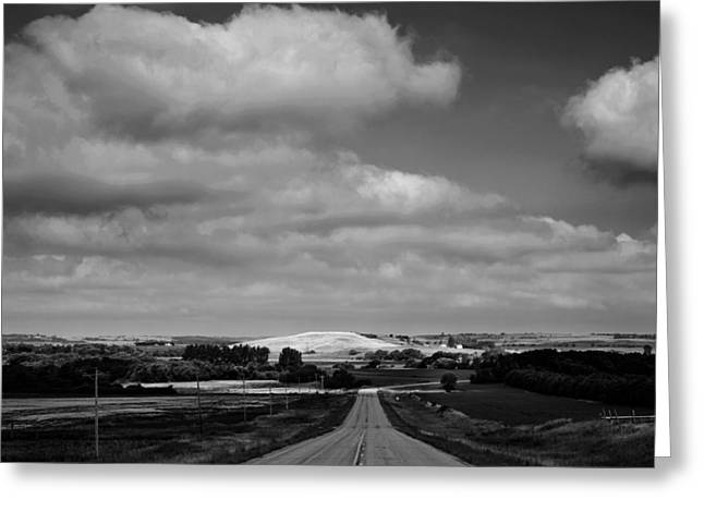 Summer Prairie Landscape Bw Greeting Card by Donald  Erickson