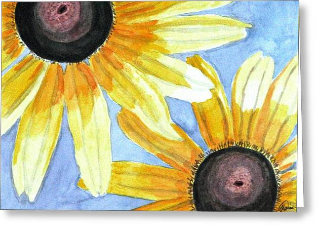 Greeting Card featuring the painting Summer Susans by Angela Davies