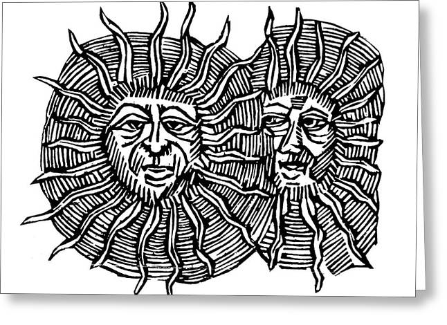 Sun Face, Decorative Greeting Card by Granger
