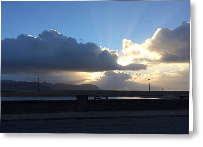 Sunbeams Over Conwy Greeting Card by Christopher Rowlands