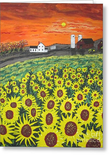 Sunflower Valley Farm Greeting Card by Jeffrey Koss