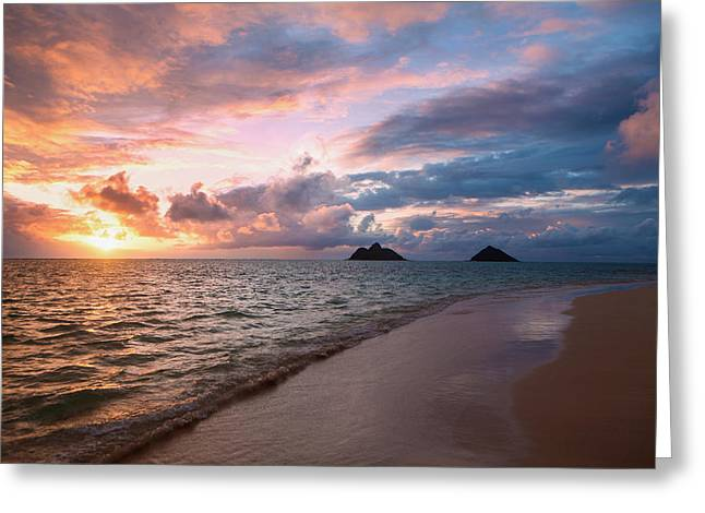 Sunrise At Lanikai Beach  Kailua Greeting Card by Tomas del Amo