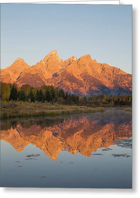 Sunrise At Schwabacher Landing In Fall Greeting Card