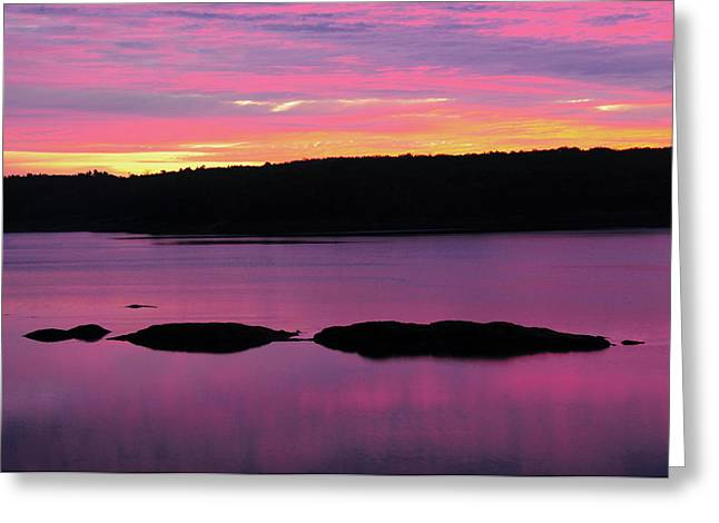 Sunrise On The New Meadows River Greeting Card by Michel Hersen