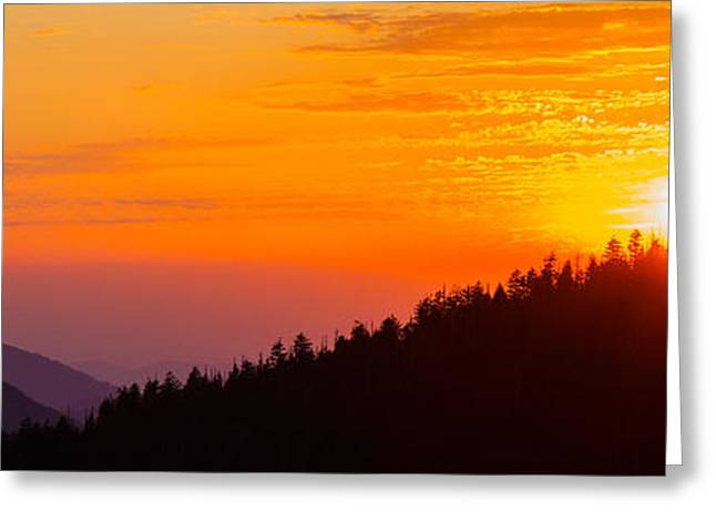 Sunset At Clingmans Dome, Great Smoky Greeting Card by Panoramic Images