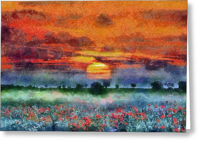 Greeting Card featuring the painting Sunset by Georgi Dimitrov
