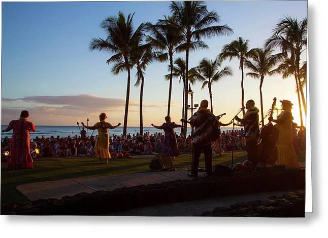 Sunset Hula Show, Waikiki, Honolulu Greeting Card by Douglas Peebles