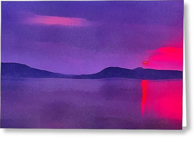 Sunset On Balaton Lake Greeting Card by Odon Czintos