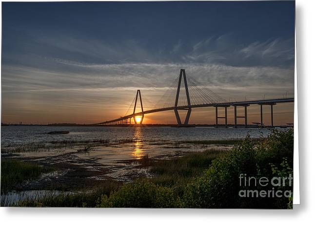 Sunset Over The Bridge Greeting Card