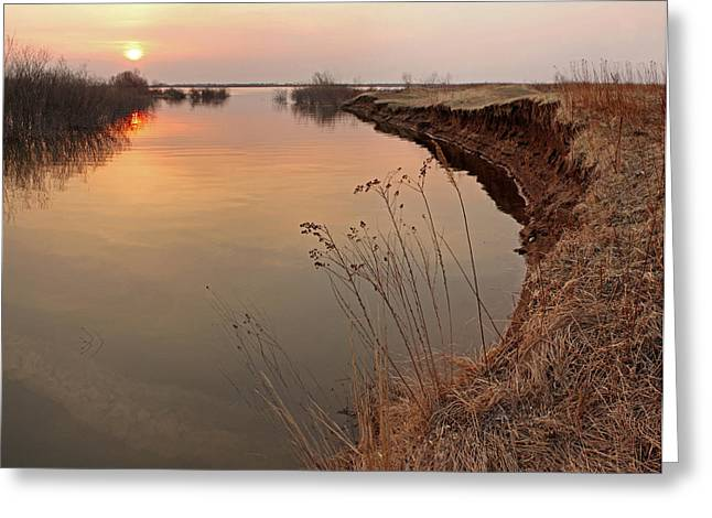 Sunset  River Panorama Greeting Card