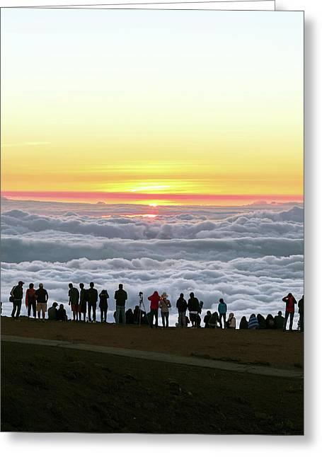 Sunset Tourism On Haleakala Greeting Card