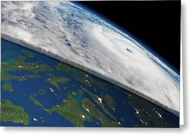 Super Typhoon Haiyan Greeting Card by Planetary Visions/nasa-jpl/noaa