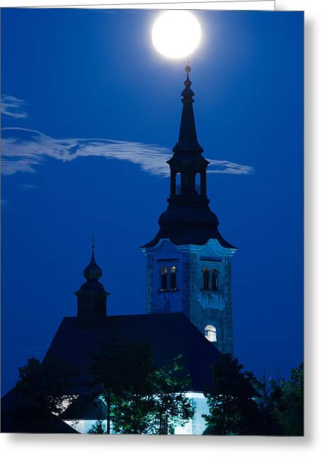 Greeting Card featuring the photograph Supermoon Over Bled Island Church by Ian Middleton