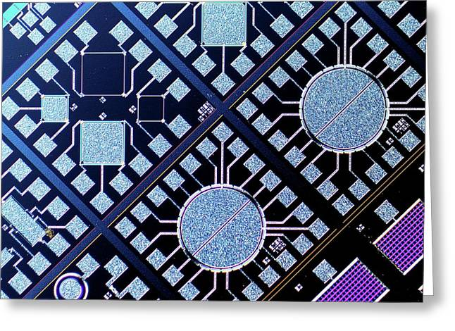 Surface Of Microchip Greeting Card by Alfred Pasieka