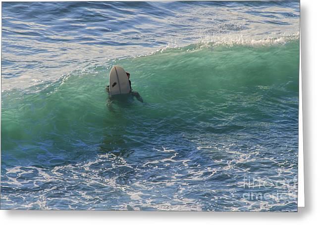 Surfer Chapel Porth Cornwall Greeting Card by Brian Roscorla