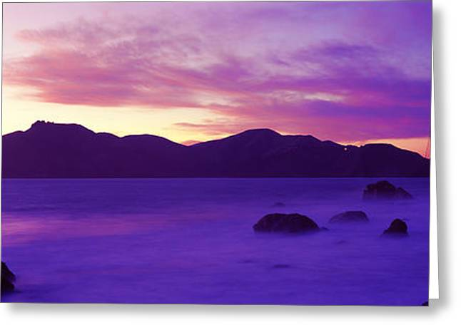Suspension Bridge Across A Bay At Dusk Greeting Card by Panoramic Images
