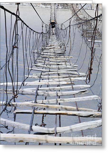 Suspension Bridge Across The Hunza River Greeting Card by Robert Preston