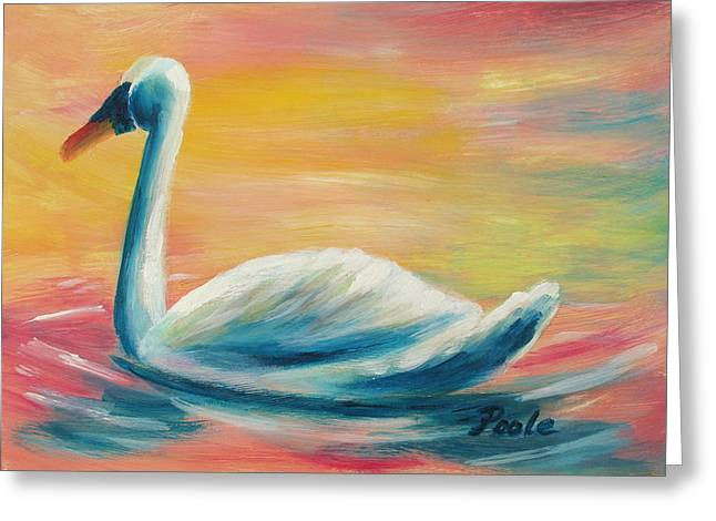 Swan At Sunset Greeting Card
