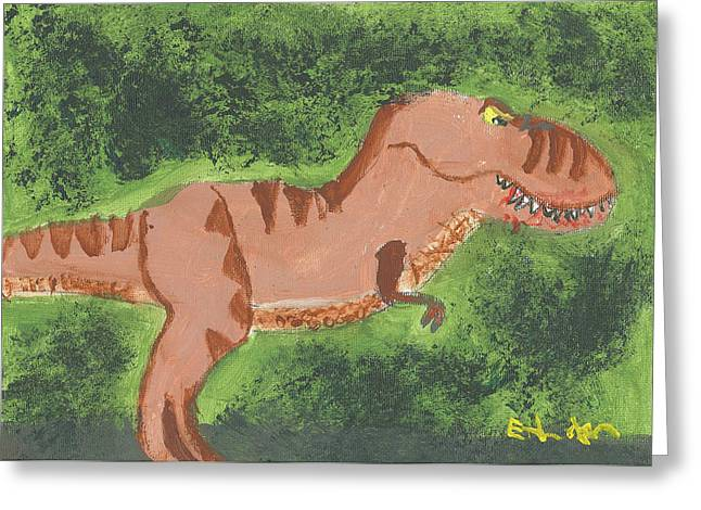 Greeting Card featuring the painting T-rex Hunting by Fred Hanna