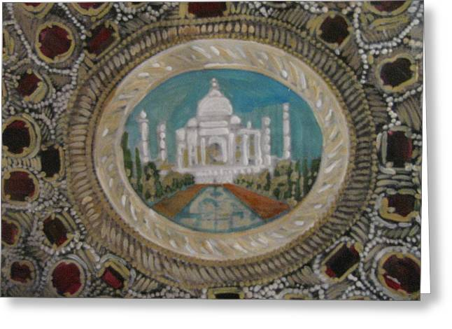 Greeting Card featuring the painting Taj Mahal by Vikram Singh