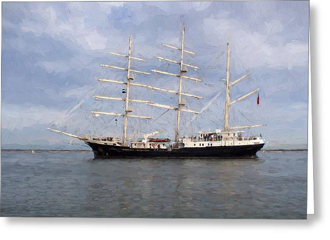 Tall Ship At Anchor Greeting Card by Colin Porteous