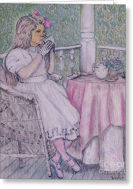 Tea Time For Alexis Greeting Card by Linda Simon