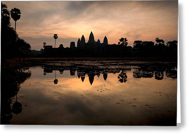 Temple At The Lakeside, Angkor Wat Greeting Card by Panoramic Images