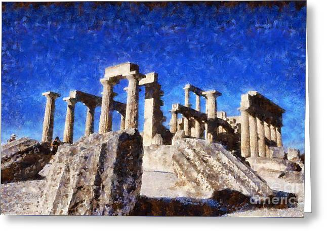Temple Of Aphaia Athena Greeting Card by George Atsametakis