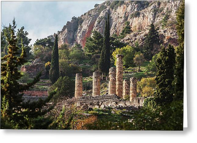 Temple Of Apollo  Delphi, Greece Greeting Card by Reynold Mainse