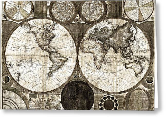 Terraqueous Globe - Map Of The World Greeting Card by EricaMaxine  Price
