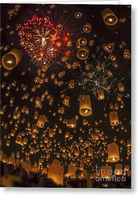 Thai People Floating Lamp Greeting Card by Anek Suwannaphoom