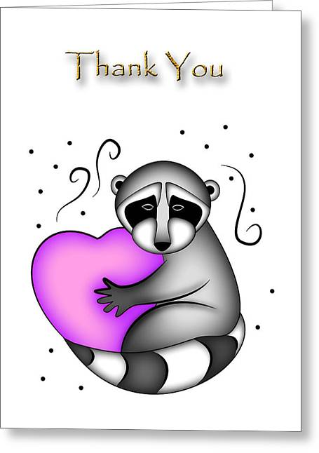 Thank You Raccoon Greeting Card by Jeanette K