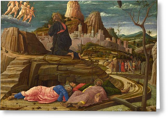 The Agony In The Garden Greeting Card by Andrea Mantegna