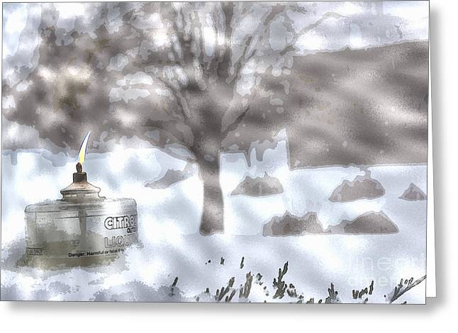 The Candle In The Snow Greeting Card by Celestial Images