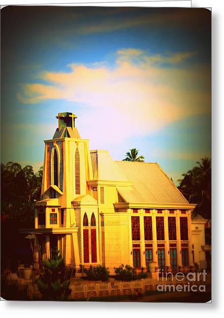 Greeting Card featuring the photograph The Church In My Village by Jason Sentuf