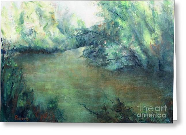 The Creek At Dawn Greeting Card by Mary Lynne Powers