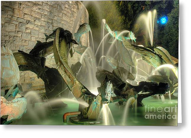 The Fountain At Founders Hall Greeting Card by Mark Dodd